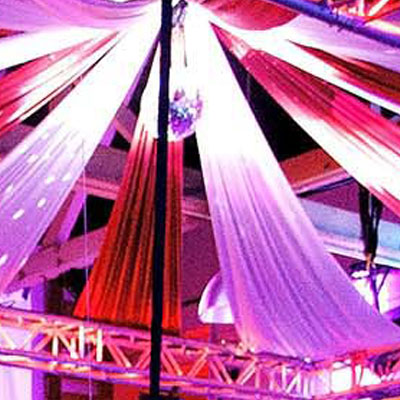 Party Factory Events - Big Top theme Red Dress Party Event / DJ's/ Lighting / Custom Ceiling